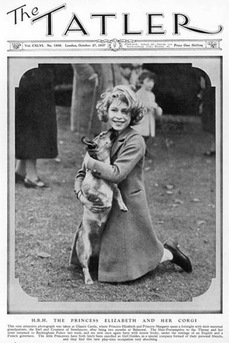 Princess Elizabeth, later the present Queen Elizabeth II, pictured on the front cover of The Tatler with her corgi at Glamis Castle, home of her maternal grandparents, the Earl and Countess of Strathmore. Date: 1937